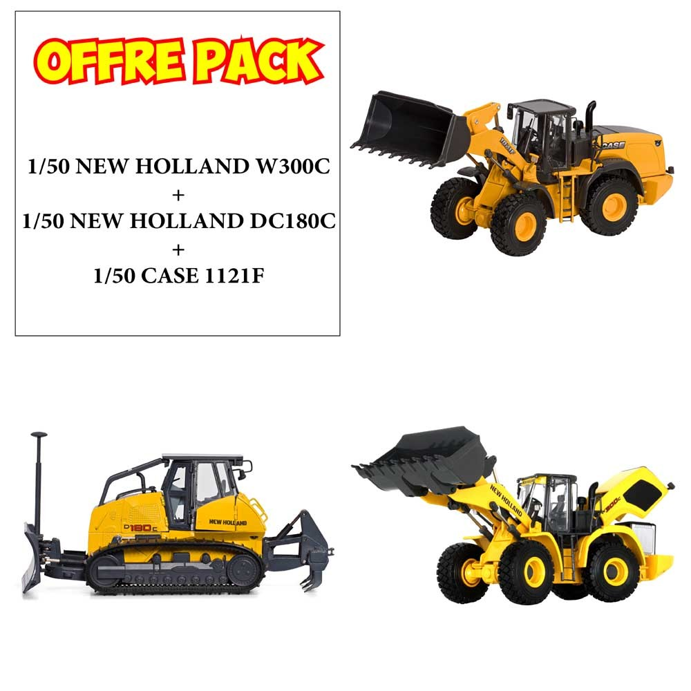 Pack 3 engins NEW HOLLAND WC300 Chargeur, Bullzoer DC180C et Chargeur CASE 1121F