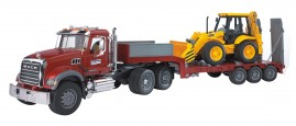 Camion porte-engins MACK GRANITE avec tractopelle JCB